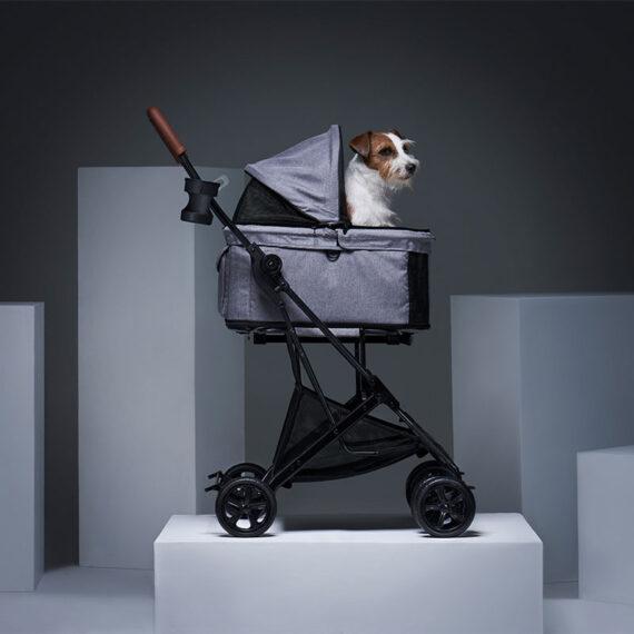 IBIYAYA Travois Tri-fold Pet Travel System – Nimbus Gray รถเข็นสัตว์เลี้ยง FS2011-GS