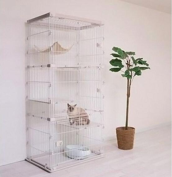 IRIS วู้ดดี้ กรงแมว 3 ชั้น / PWCR-963 สีขาว 3 ชั้น