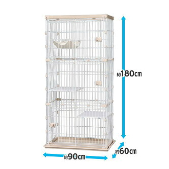 IRIS วู้ดดี้ กรงแมว 3 ชั้น /Woody Cat Cage Natural PWCR-963