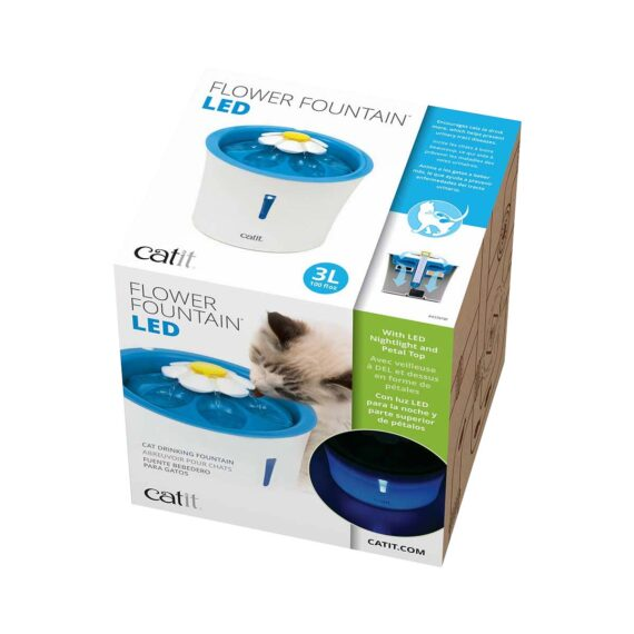 Catit Flower Fountain LED – 3 L น้ำพุแมวมีไฟ