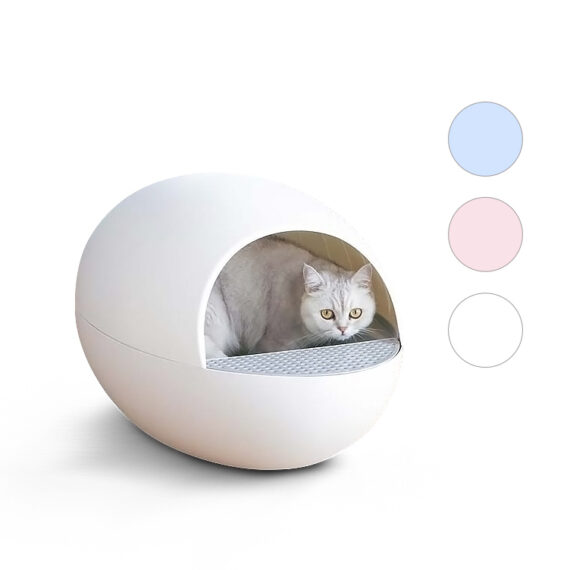 PET MANAGER Egg Shape Self Cleaning Cat Litter Box/ ห้องน้ำแมวอัตโนมัติ White Blue Pink