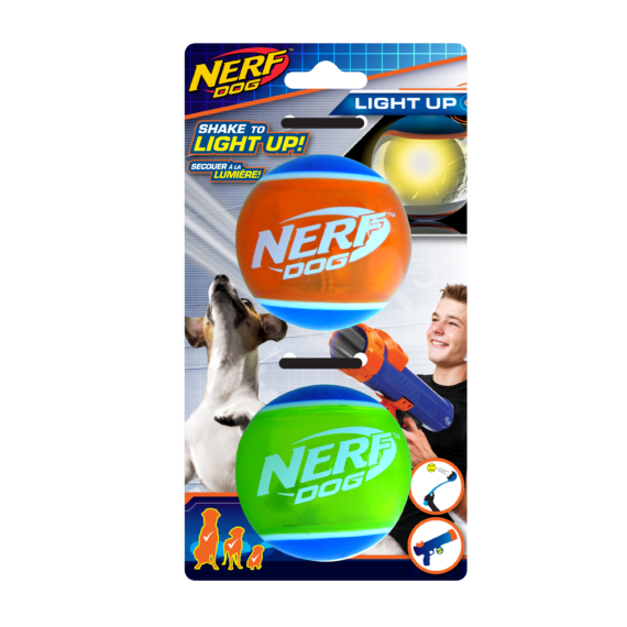 Nerf Dog LED TPR Tennis Ball (2.5 in) – 2 Pack